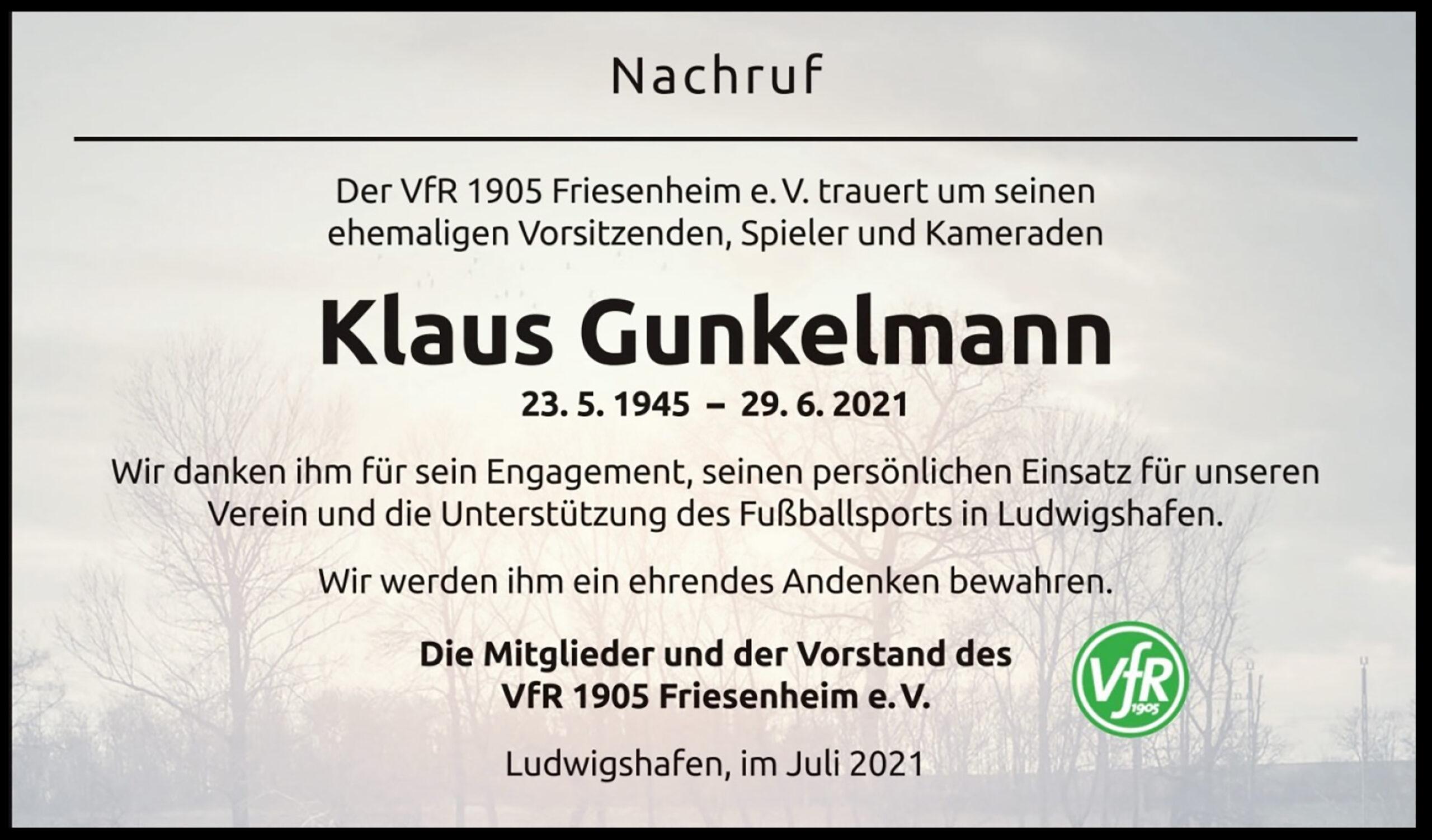 Read more about the article Wir trauern um Herrn Klaus Gunkelmann.